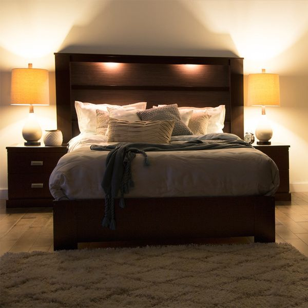 South Shore Gloria Headboard With Lights King Platform Bedroom