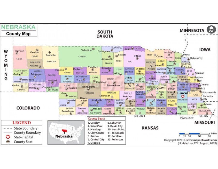 Buy Printed Nebraska County Map County Map Map Nebraska