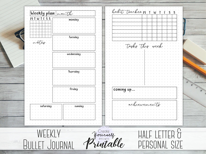 Bullet Journal Printable Weekly Planner Bullet Journal Template Dot Grid Journal Planner Insert Half Le Planner Pages Journal Printables Dot Grid Journal