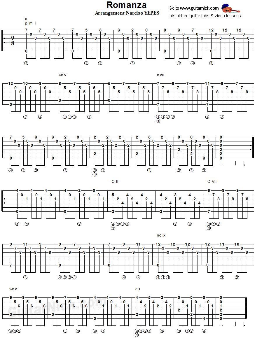 Classical Spanish Romance Fingerstyle Guitar Tablature Tabs