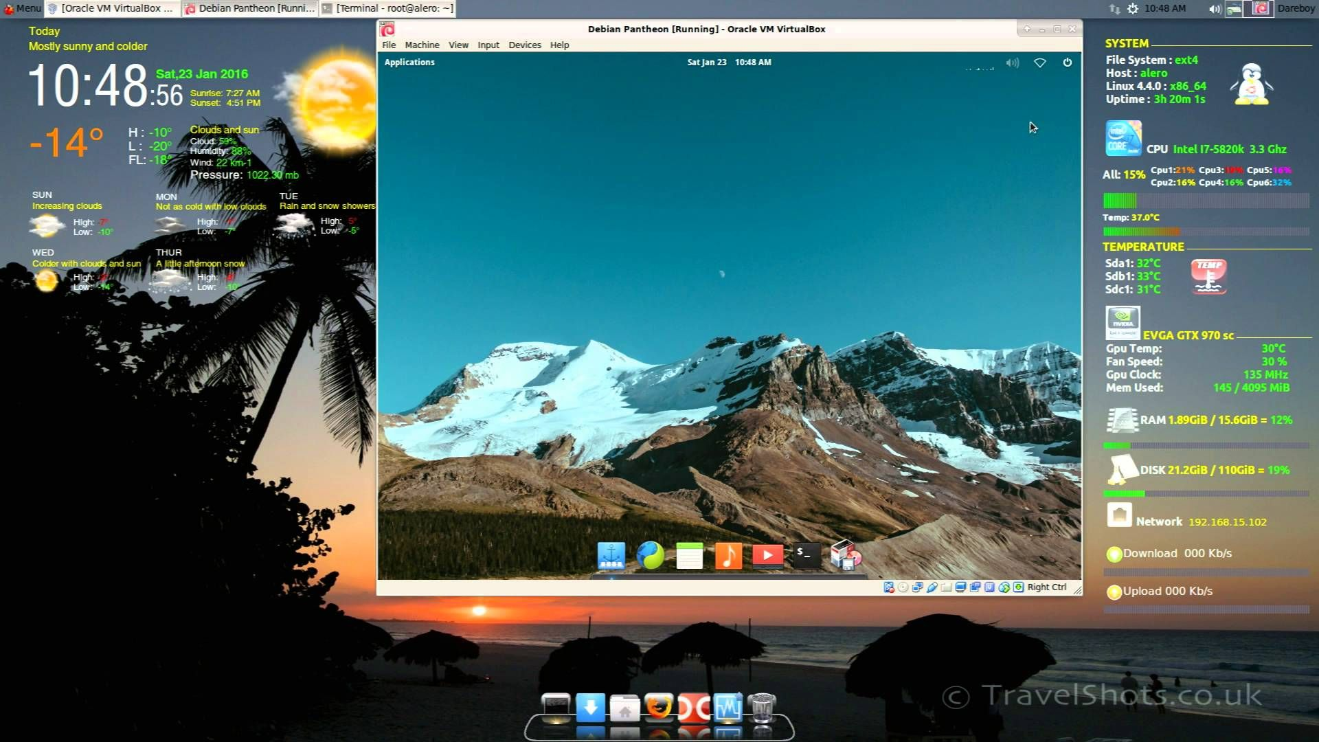 Debian 8 Pantheon | Linux | Linux, Desktop screenshot, Youtube