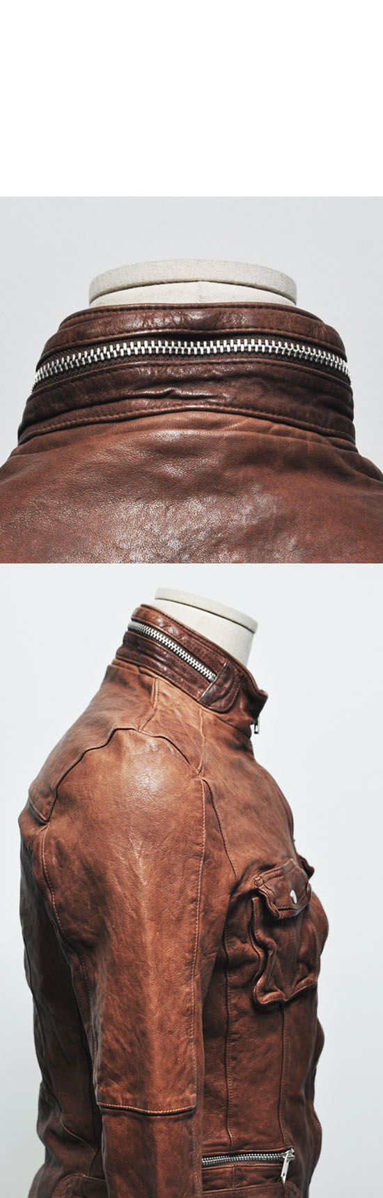 Vegetable Tan Lambskin Zipper Biker-Leather 53 - GUYLOOK
