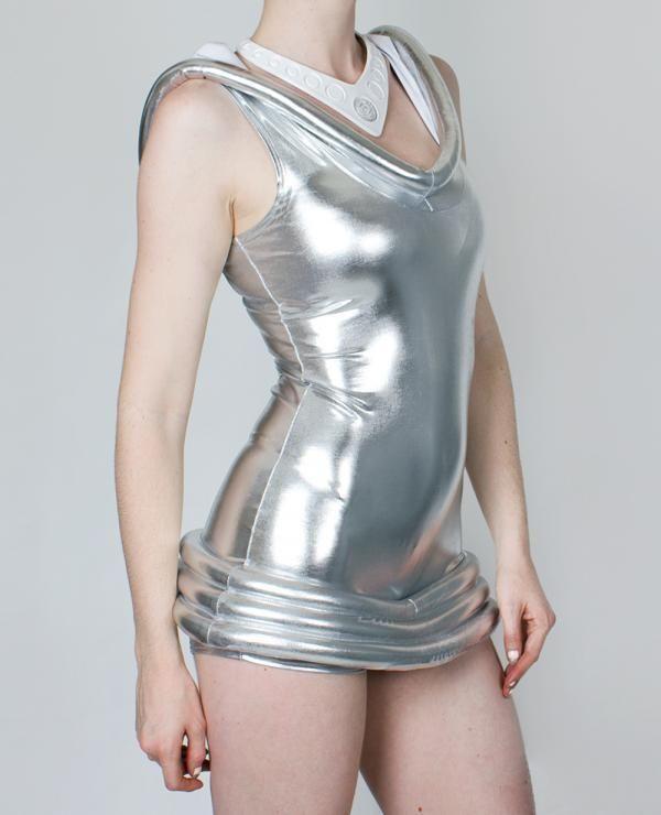 30ff7660f1 Cyberdog moon playsuit silver cyber space alien Disco One size Dancewear