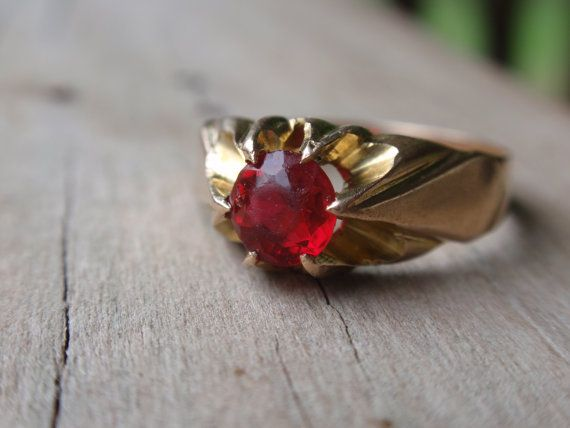 Victorian Belcher Ring with Red Stone 10k by LuceesTreasureChest