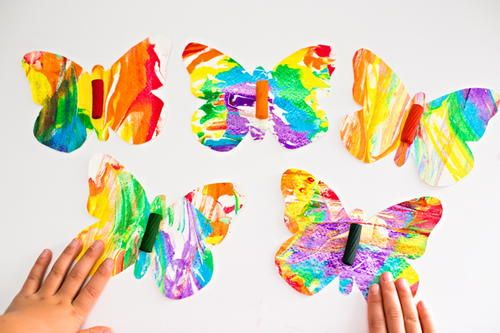Rainbow Marbled Butterfly Pasta Art is part of Kids Crafts Butterfly Learning - When it comes to bright and bold colors, there's no holding back with this Rainbow Marbled Butterfly Pasta Art! The kidfriendly craft is easy to make and will look amazing when placed in a window or on a wall  after it's dry, of course! This delightful craft is perfect for spring and summer, but you can also use it to add some serious pops of color to your home during the dull and dreary winter months  Kids will love creating these butterfly crafts, and will especially love that each butterfly is completely unique  This craft is also perfect for a classroom project