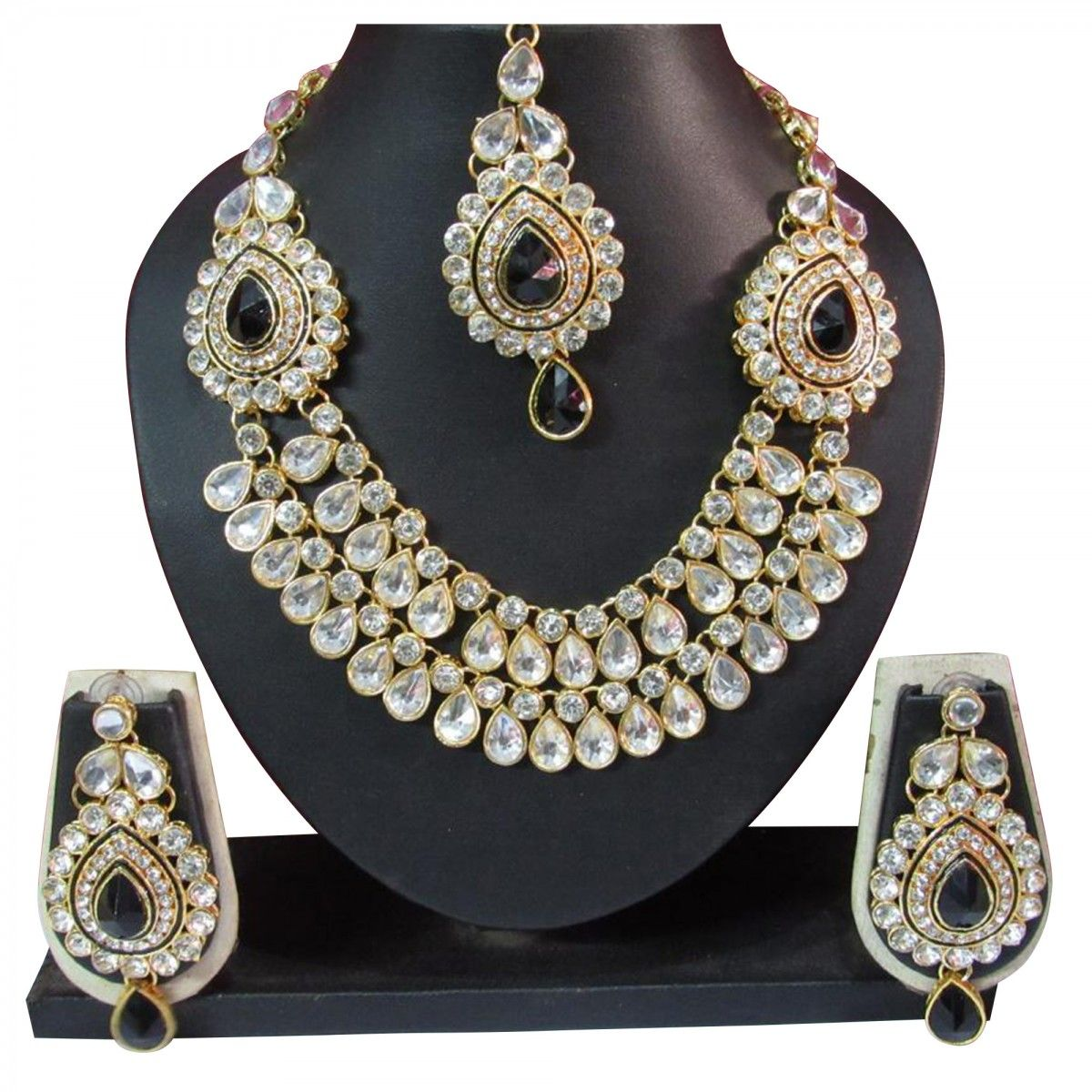 a4d161bc3 Buy Black Stone Wedding Necklace Set for womens online India