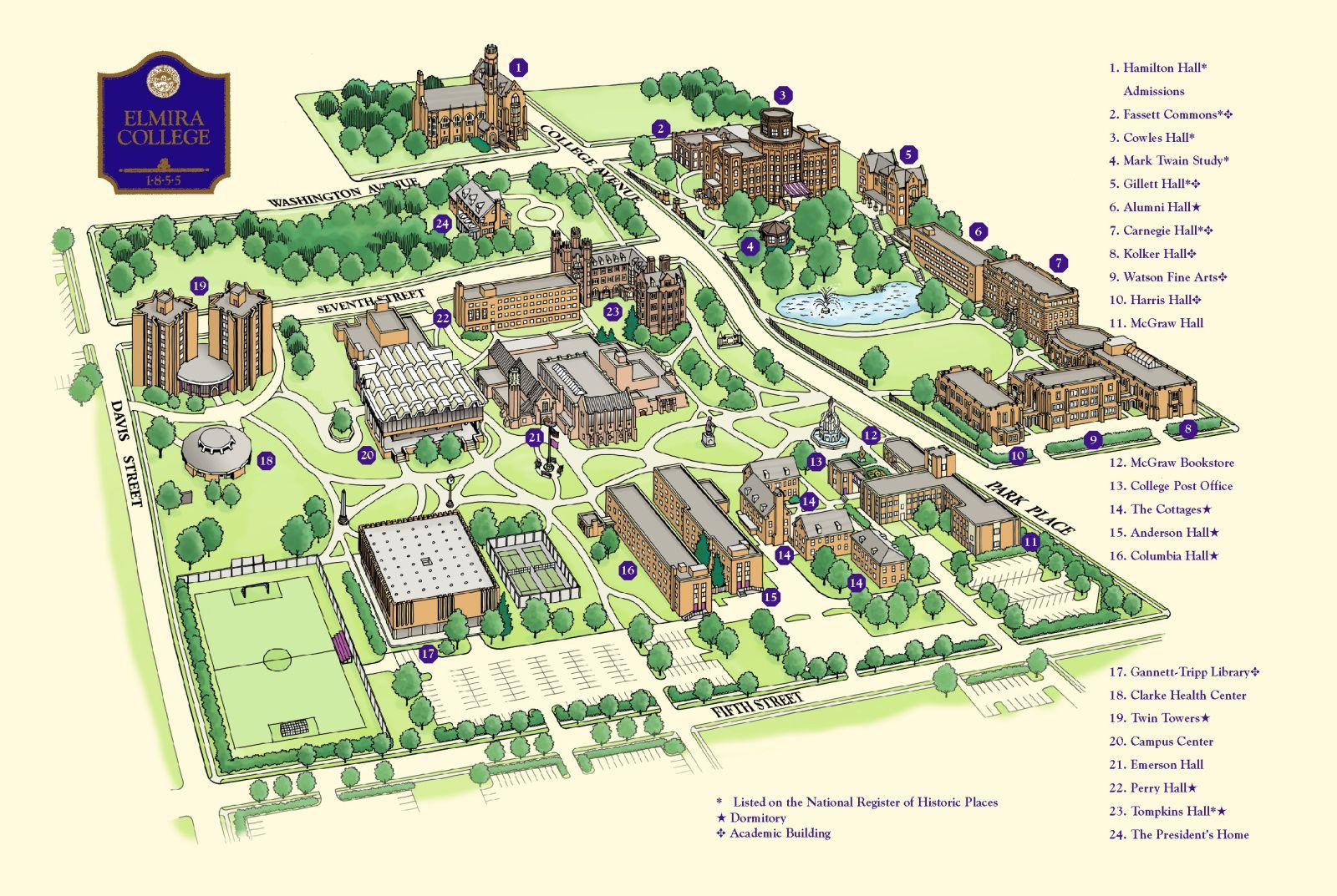Campus map, Elmira College Campus map, Elmira college