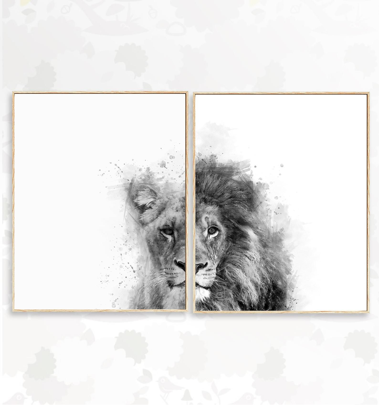 Lot De 2 Noir Et Blanc Lions Art Mural Aquarelle Imprimable Lion
