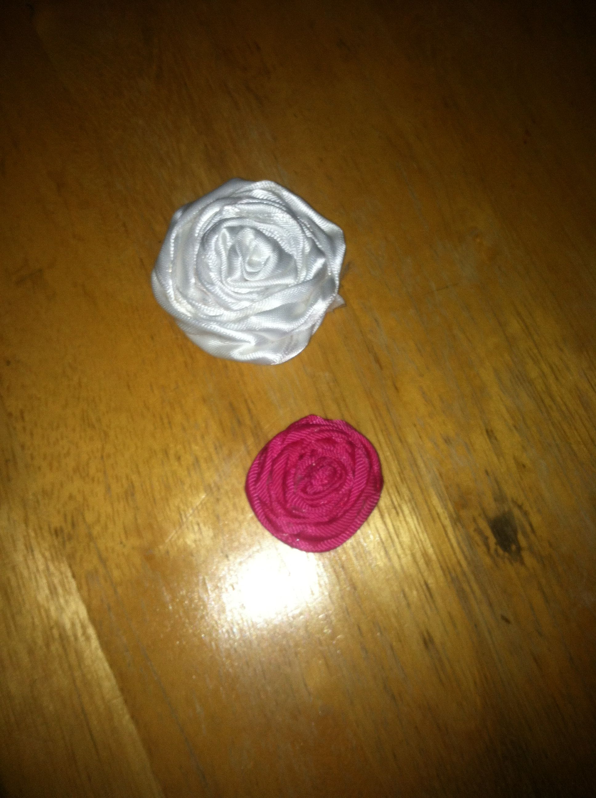 My first two ribbon roses