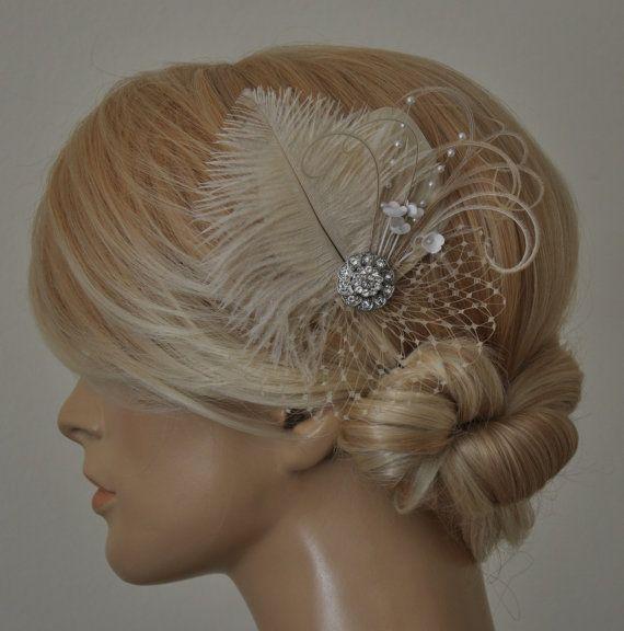 Wedding Hair Accessories Feather Fascinator Wedding Hairpiece Fascinator Headpiece Bridal Fascinator hairpiece Wedding Headpiece
