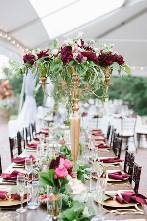 Marsala and gold inspired wedding tabe setting brides of adelaide tall gold and marsala wedding centerpieces junglespirit Image collections