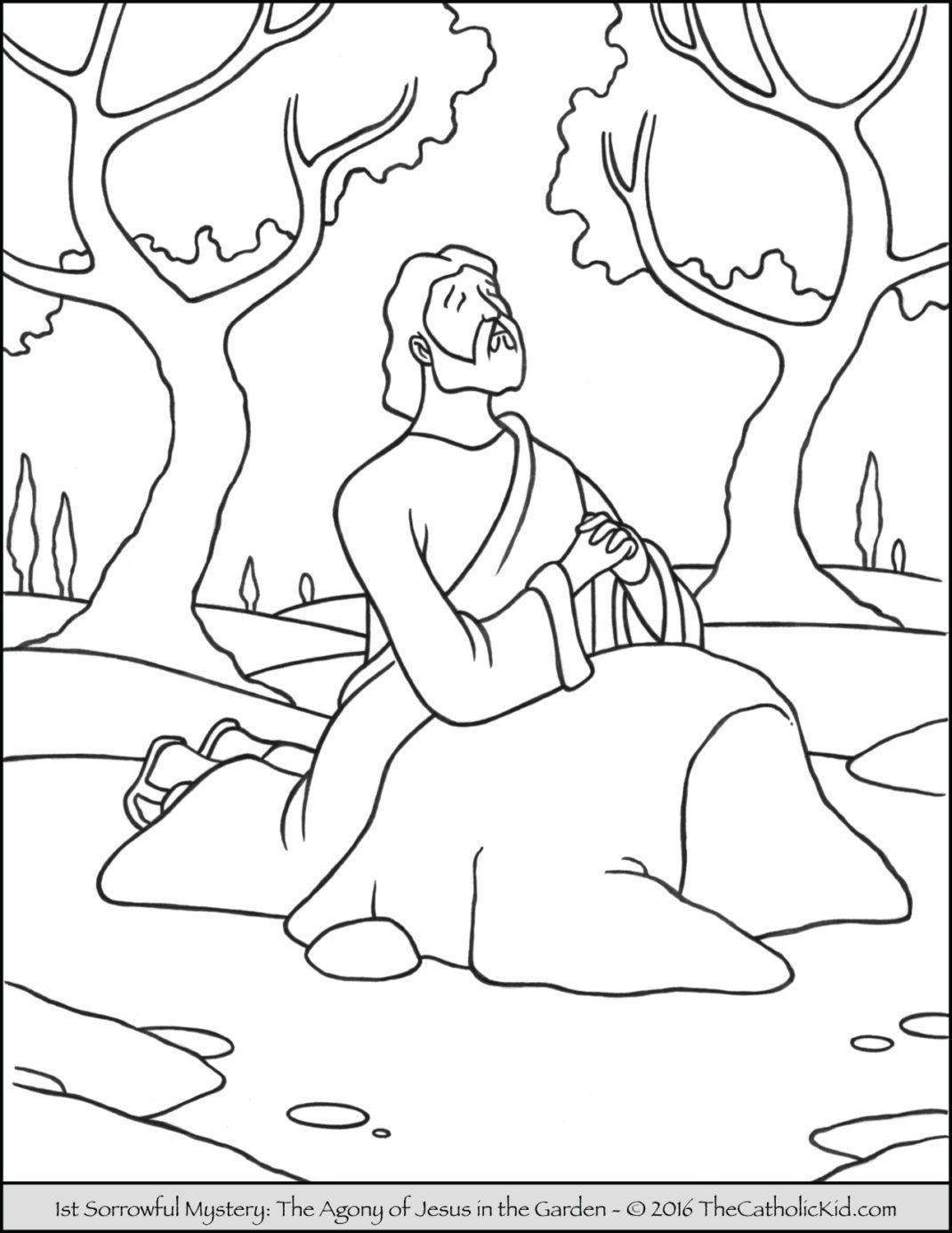Sorrowful Mysteries Rosary Coloring Pages The Agony in the