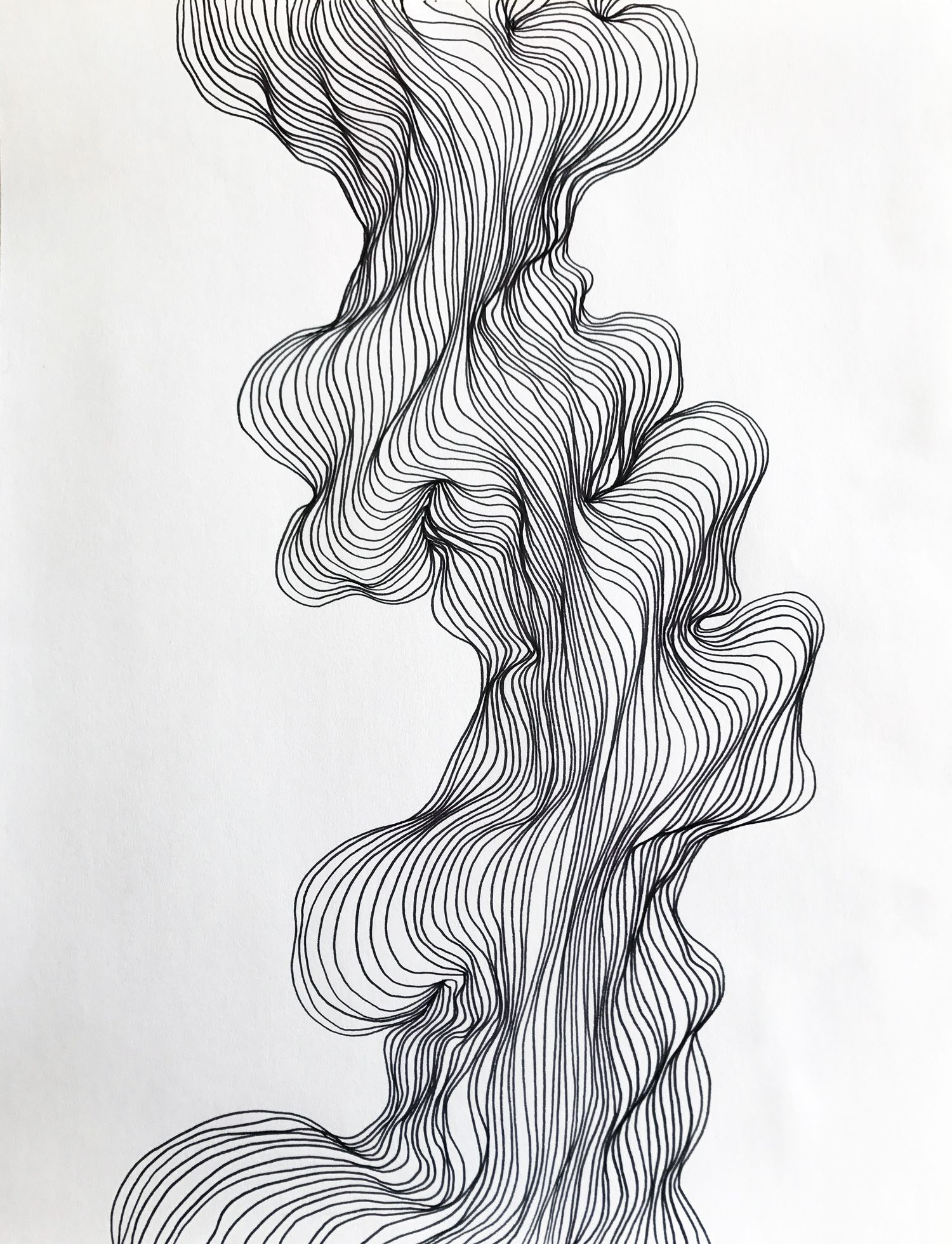 Abstract line art black and white modern drawing organic
