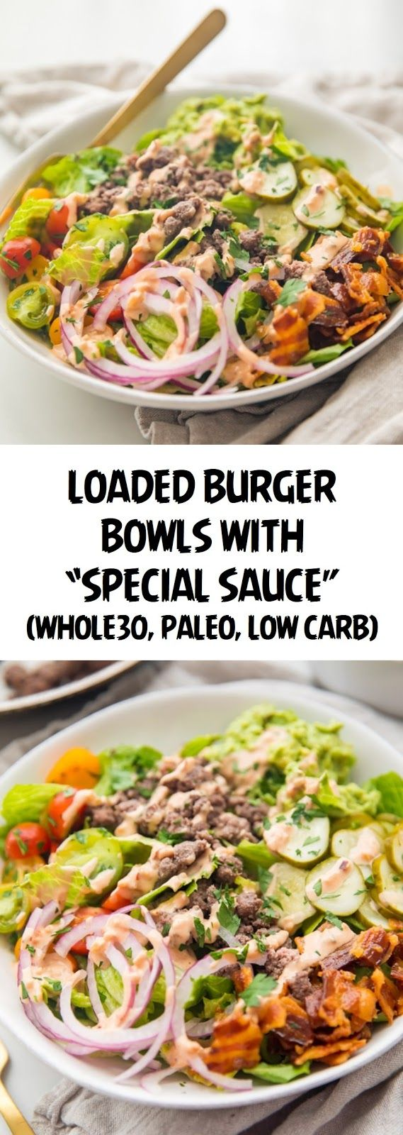 "Photo of Loaded Burger Bowls with ""Special Sauce"" (Who"