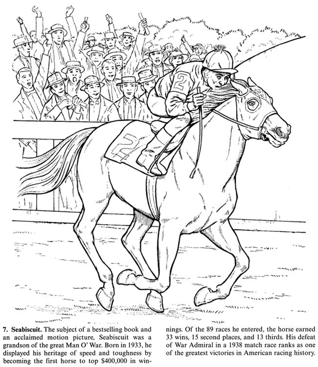Horse Coloring Page of the Famous Seabiscuit | adult color page ...