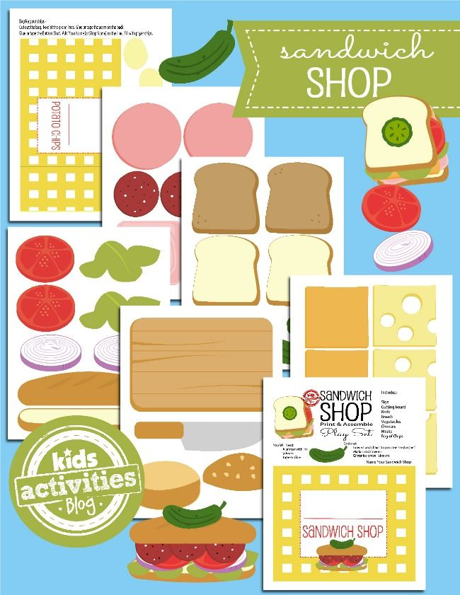 The Kids Clothesline Printable Toys Open A Paper Sandwich Shop  Pinterest  Sandwich