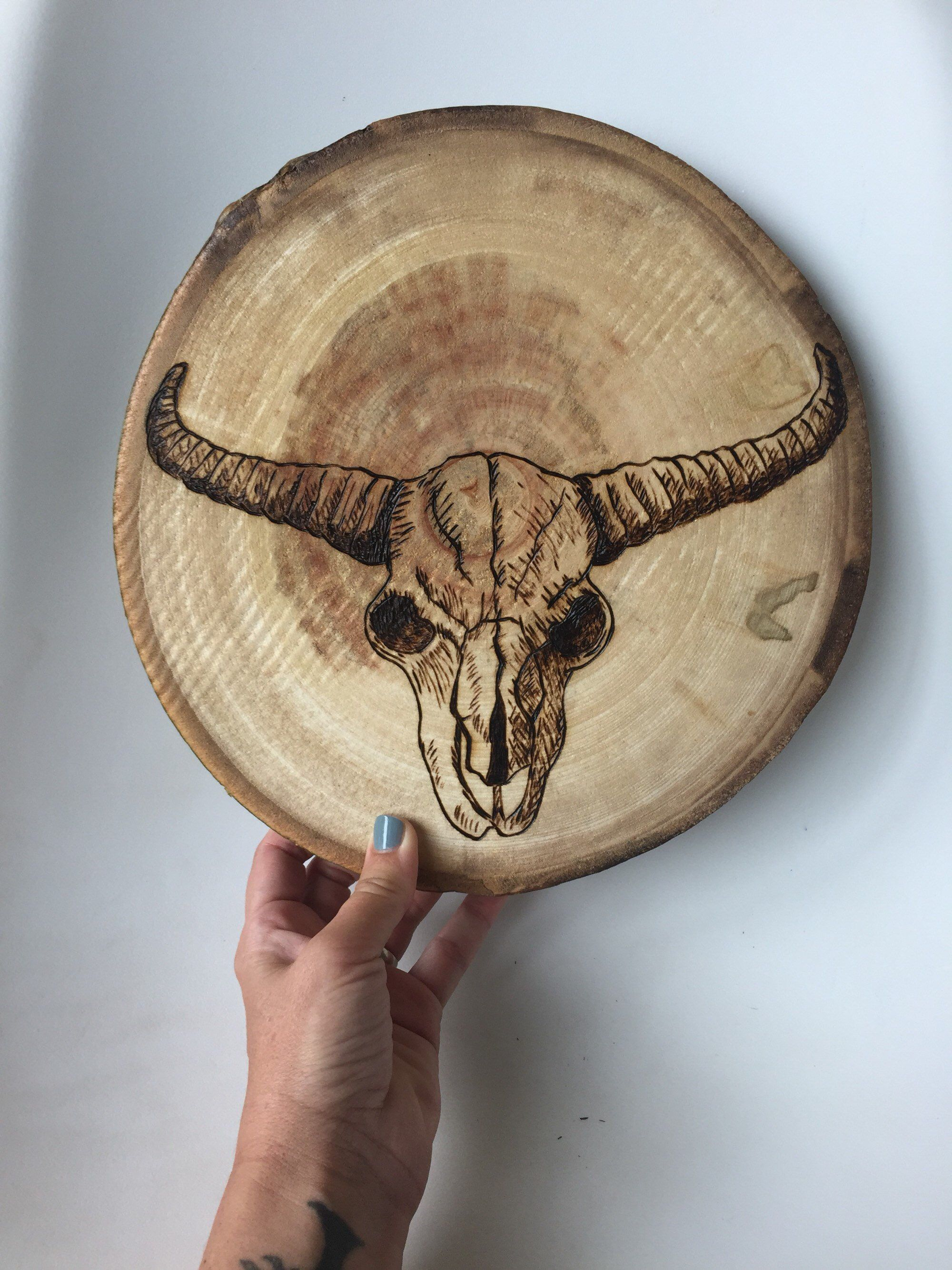 Skull wood art tree slice animal skull wall art wood burned art