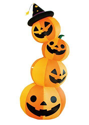 8 Ft Halloween Inflatable 4 Pumpkin Stack Decoration with 4 LED - outdoor inflatable halloween decorations