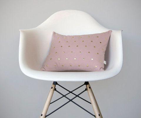Studded Pillow Cover in Blush Linen | Polka Dot Pattern//