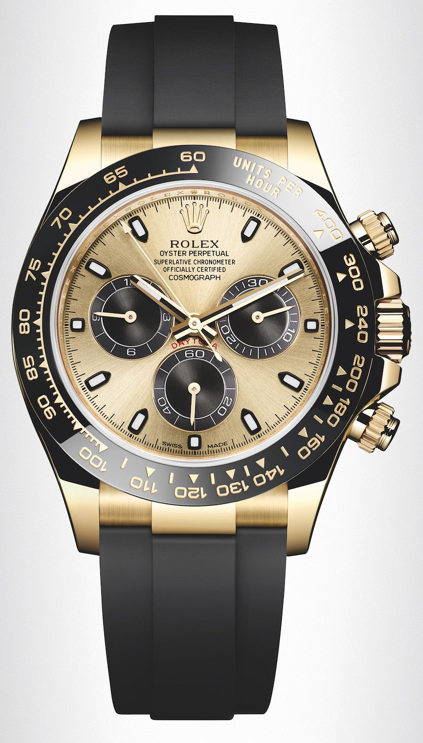 613af84b40e New Rolex Cosmograph Daytona Watches In Gold With Oysterflex Rubber Strap  and Ceramic Bezel For 2017