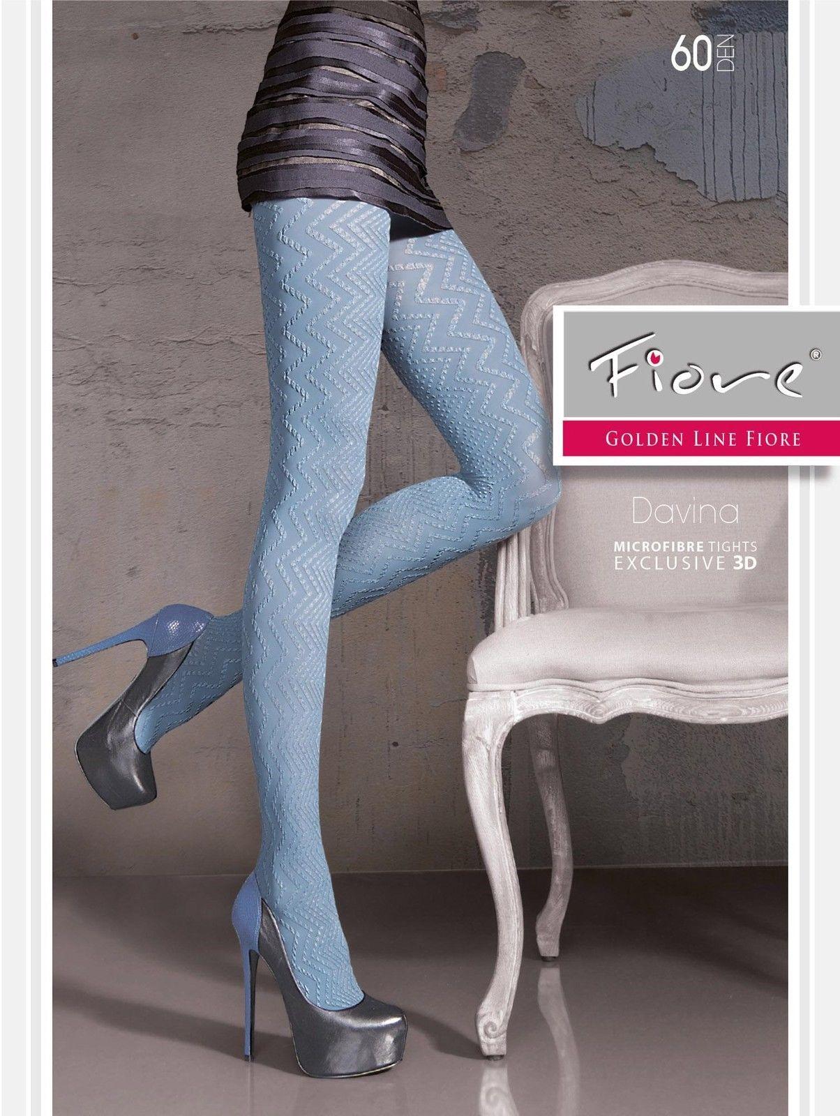 f214b7c2a24 Fiore Davina Microfiber Designer 3D 60 Denier Pantyhose Tights 3 Sizes Black