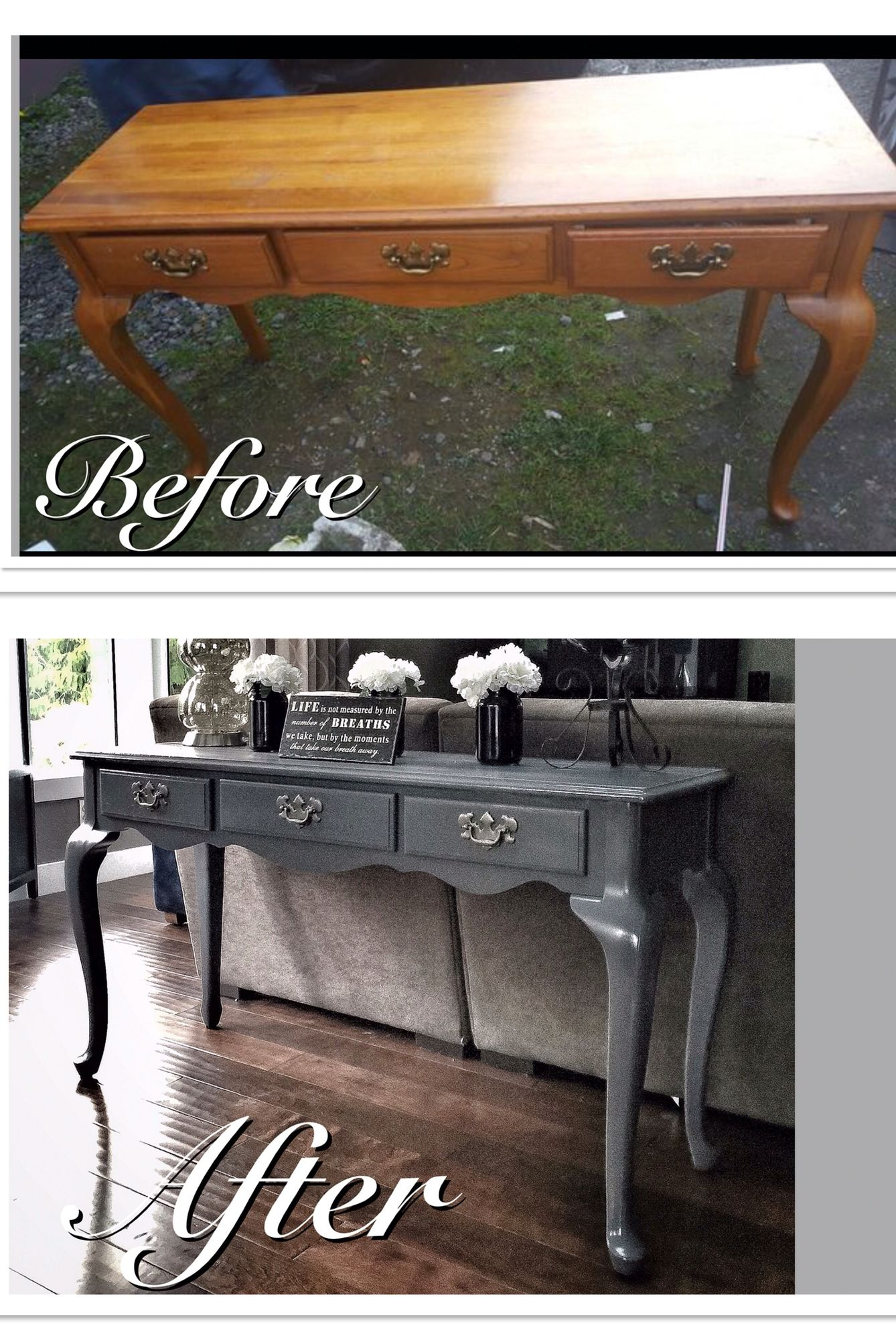 Before after old run down sofa table refinished in a mod grey before after old run down sofa table refinished in a mod grey changes the geotapseo Image collections
