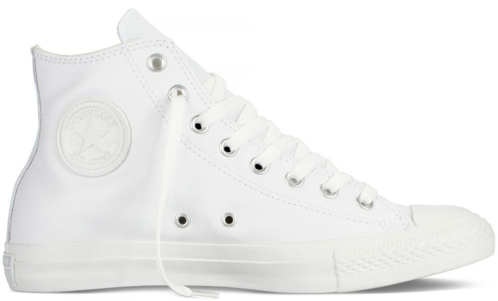 Details about New Converse Chuck Taylor All Star Leather High Top Shoes Black White Trainers