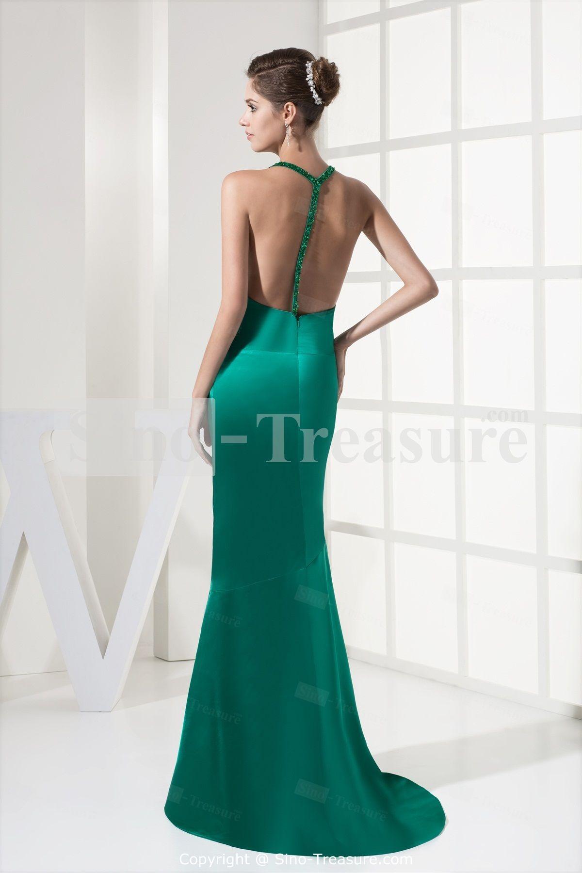 Bright hunter green brush train elastic woven satin evening dress