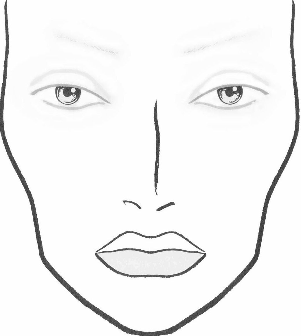 Blank Makeup Face Chart Sketch Coloring Page