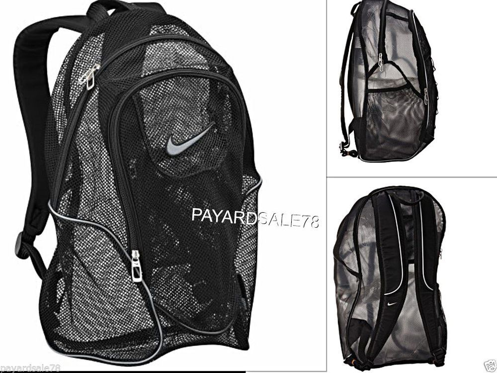 872d8177d6b3 LARGE BLACK NIKE MESH BACKPACK BEACH BAG SPORTS GYM TRAVEL SCHOOL DAY PACK  CAMP  Backpack