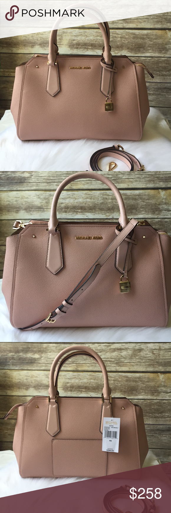 0fe4048a4e01 Michael Kors Hayes pink large satchel leather bag 100% AUTHENTIC ...