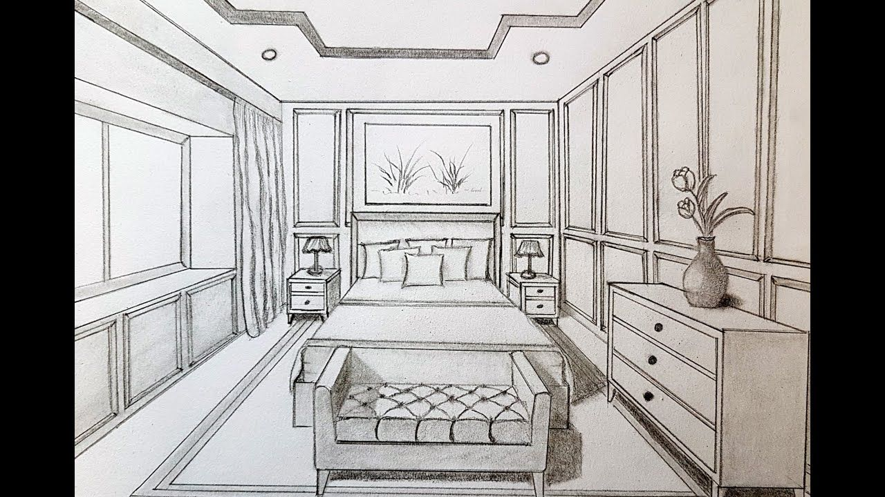 How To Draw A Bedroom In 1 Point Perspective 1 Point Perspective Room Perspective Drawing Perspective Drawing Architecture