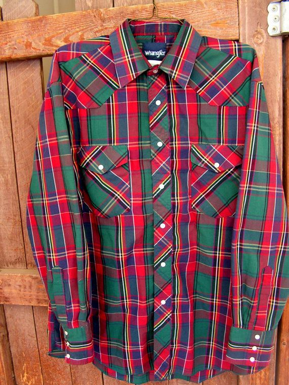 VTG Wrangler Western Pearl Snap Plaid Button Front Shirt Sz 16 12-35