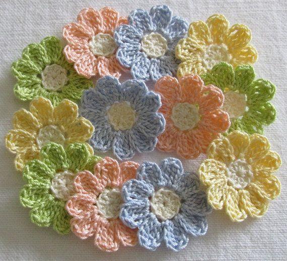 Pastel Crochet Flower Appliques - set of 12, handmade, craft ...