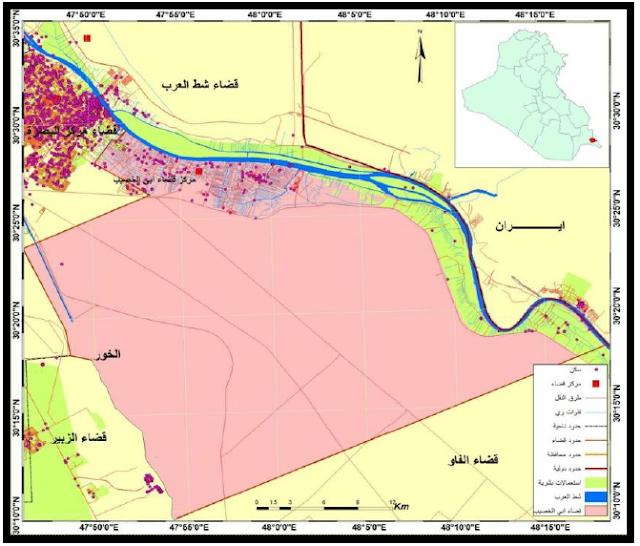 الجغرافيا دراسات و أبحاث جغرافية تغير مساحات أشجار النخيل في منطقة أبو الخصيب للمدة Places To Visit Geography Map