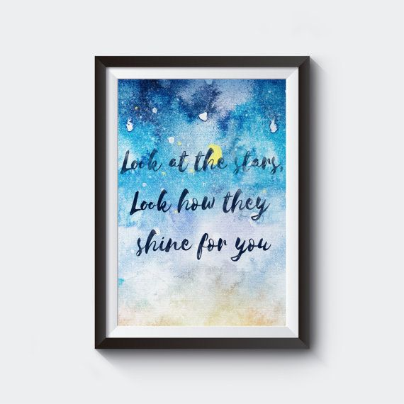 Look At The Stars Coldplay Lyrics Digital Decor Instant Download Typography Chris Martin Wedding Gift Wall Art Wall Decor In 2020 Coldplay Lyrics Wall Signs Wall Printables
