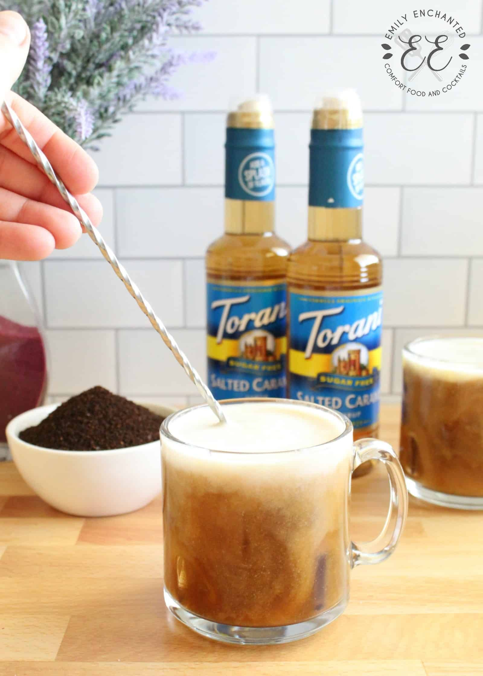 Keto bulletproof iced salted caramel latte coffee drink