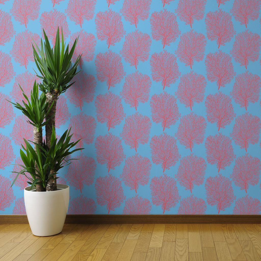 Coral Reef Wallpaper Fan Corals By Helenpdesigns Sea Fans Tropical Custom Printed Removable Self Adhesive Wallpaper Roll Coral Wallpaper Nautical Wallpaper