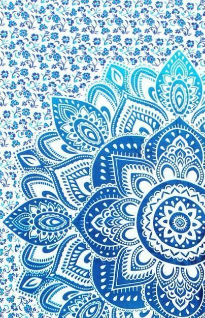 Strong Blue Wild Flower Eco Friendly Twin Mandala