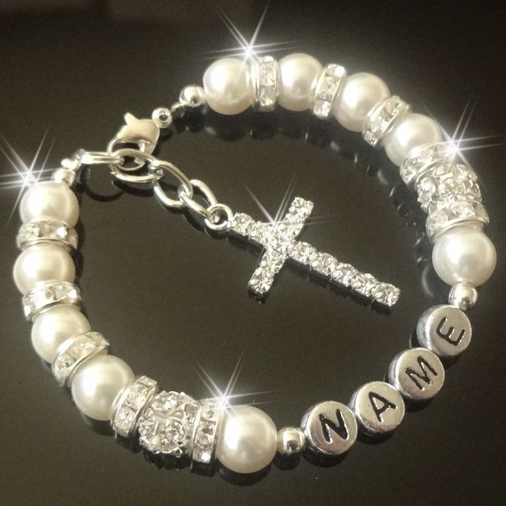 Extra Special Cross Personalised Bracelet First holy  Communion Christening gift