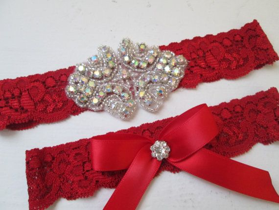 Red Christmas Wedding Garter Set, Red Lace Garter w/ Crystals, Bling Garter, Christmas Garter, Rustic Garters, Country Bride