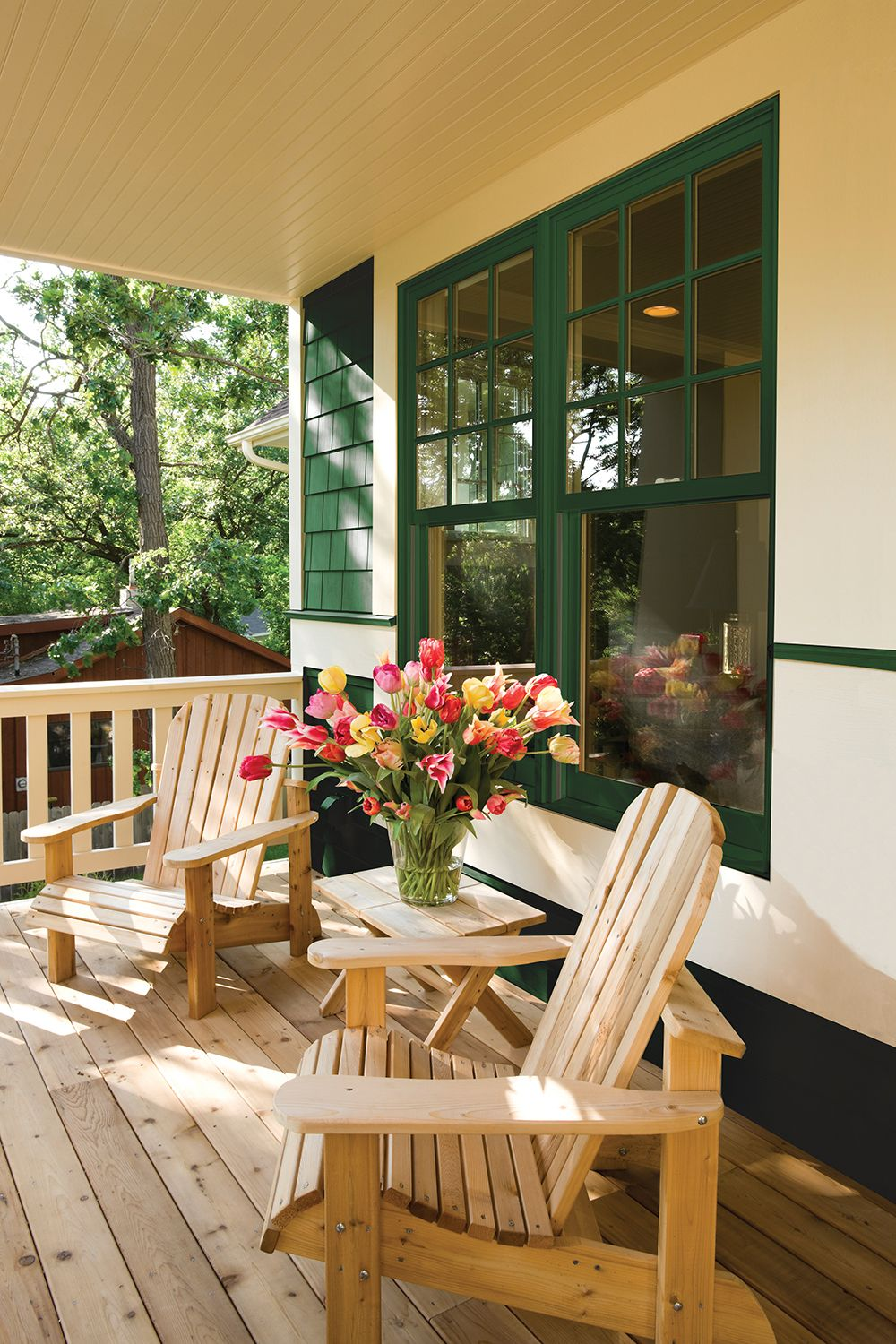 Wooden Deck, Green Painted Patio, Porch design, House