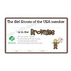 Girl Scout Brownie Printable Membership Card For Investiture And
