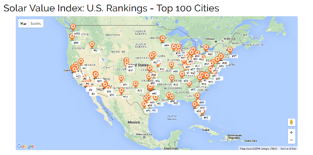 Solar Value Index Ranking The Top 100 Biggest Cities In The Us Solar City Solar This Is Us