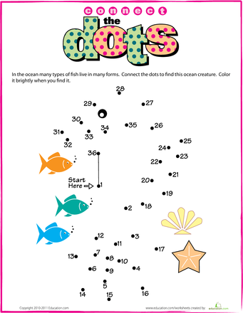 Connect The Dots Seahorse Connect The Dots Dots Dot Worksheets