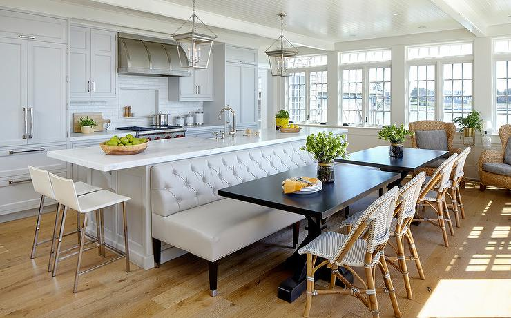 Leather Tufted Dining Bench In Front Of Kitchen Island Transitional Kitchen Kitchen Island Dining Table Kitchen Design Kitchen Island Decor