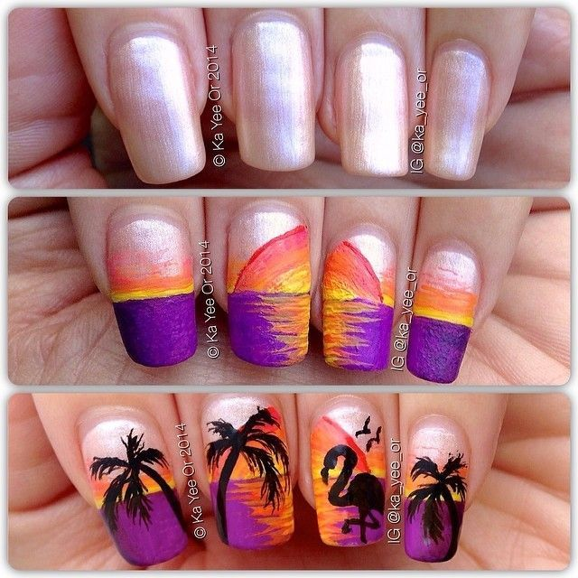 Tropical Nail Art: Sunsets, Sea Turtles And Sandy Beaches (PHOTOS). - Tropical Nail Art: Sunsets, Sea Turtles And Sandy Beaches (PHOTOS