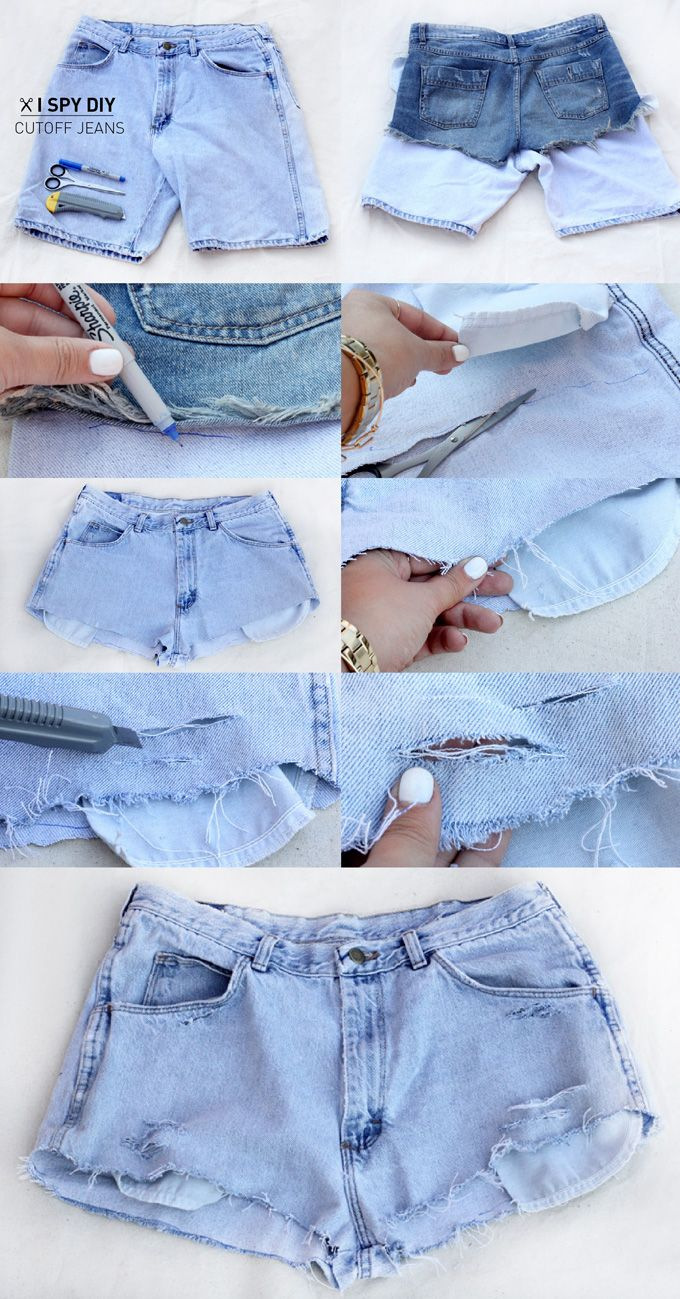 DIY Thrifted Cutoff Denim Jean Shorts with @I Spy DIY | iSpy a ...
