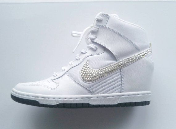 Check out this item in my Etsy shop https://www.etsy.com/listing/266466259/white-nike-dunk-sp-with-swarovski