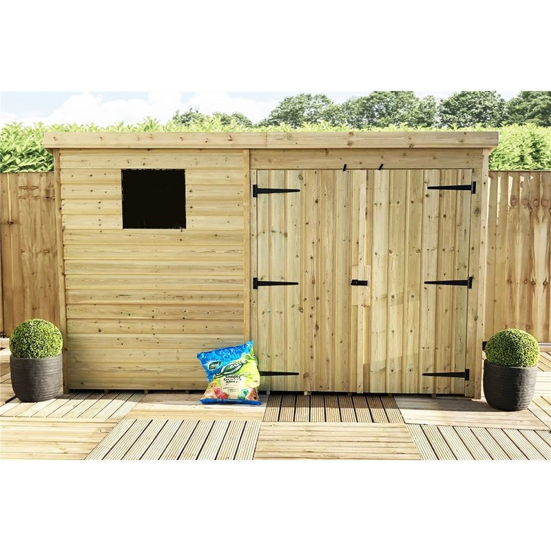 In Stock Best Prices On Installed 10 X 4 Pressure Treated Tongue And Groove Pent Shed With 1 Window A In 2020 Tongue And Groove Double Door Entryway Door Installation